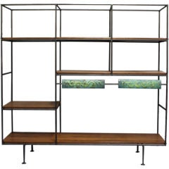 Freestanding Bookshelf with Painted Bronze Details by Cal Design