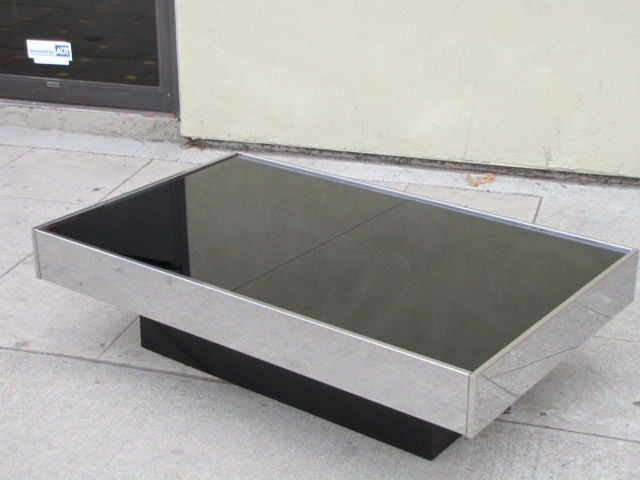Black glass top coffee table bar by roche bobois at 1stdibs Roche bobois coffee table