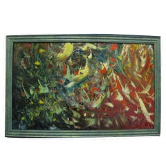 French Mid-Century Abstract Painting by Emile Gerard
