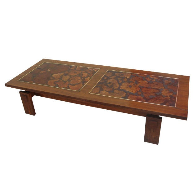 Walnut And Burl Wood Coffee Table By Lane At 1stdibs