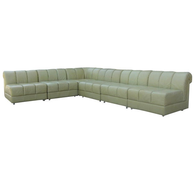 Sophisticated light almond green leather sectional at 1stdibs for Light green sectional sofa
