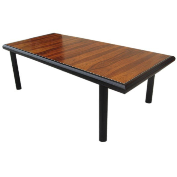 Mid Century Rosewood And Black Lacquer Parson Table At 1stdibs