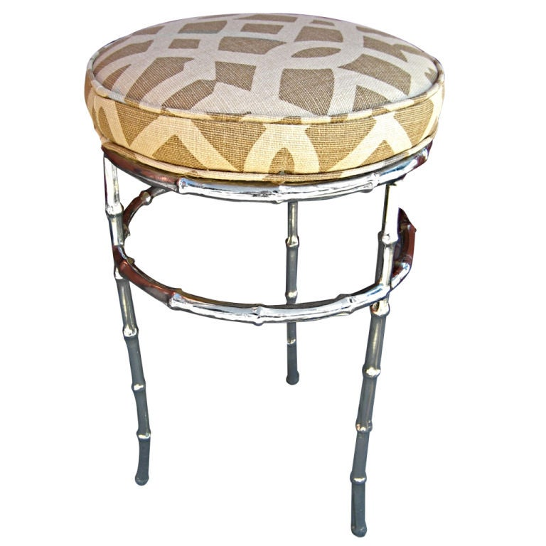Nickel Plated Faux Bamboo Stool At 1stdibs