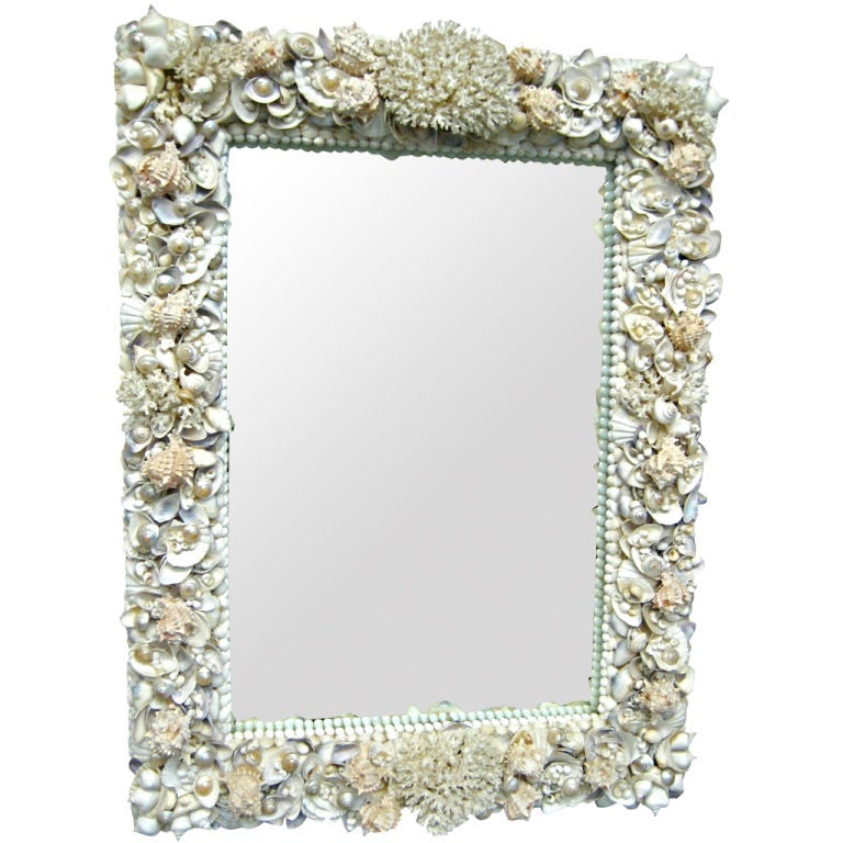 Exquisite Shell and Coral Adorned Mirror