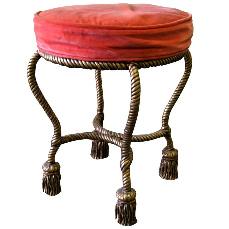 Gilt Rope and Tassel Swivel Stool 1