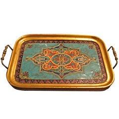 Gilt Wood Tray with Inset Antique Moorish Tile