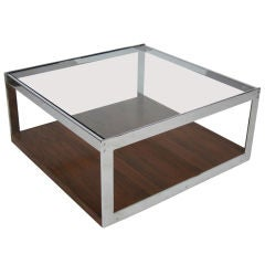 Chrome and Rosewood Cocktail Table by Richard Young for Merrow Associates