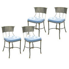 Set of 4 Brushed Steel and Bronze Side Chairs att. Jansen