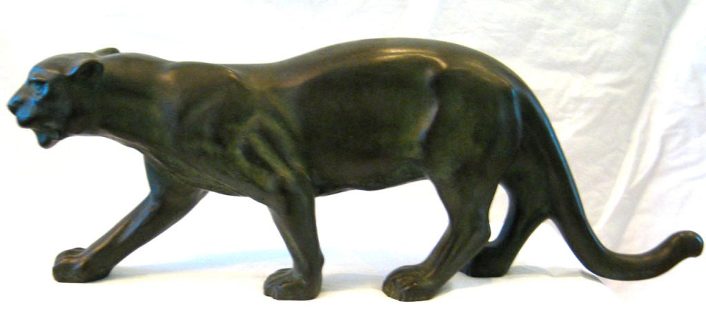 Solid Patinated Bronze Panther Maquette For A Lifesize Installation By Serge Zelikson Signed