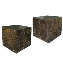 """Pair of """"Bronze"""" Cube side tables in the style of Paul Evans"""