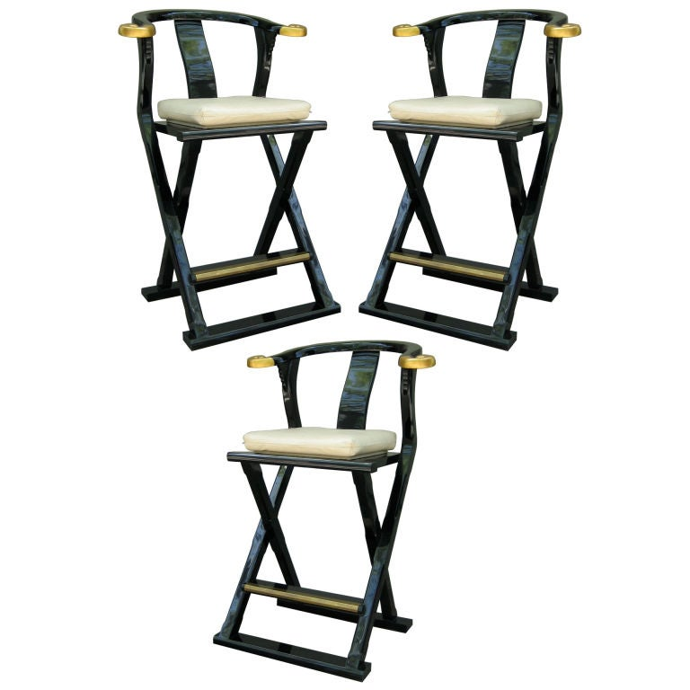 Set Of Three Black Lacquer Mandarin Style Bar Stools At