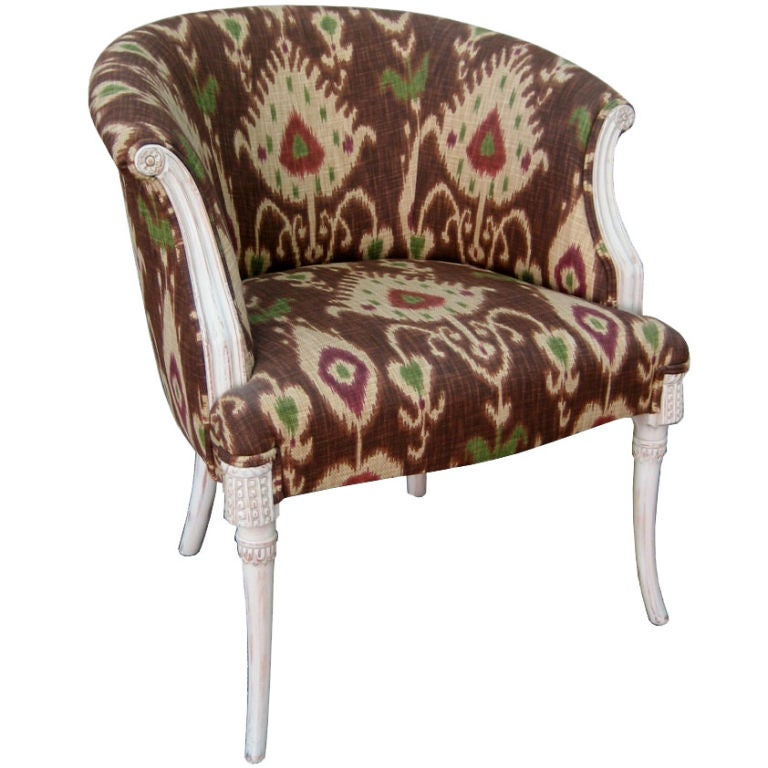 Saber Leg Armchair With Ikat Upholstery For Sale At 1stdibs