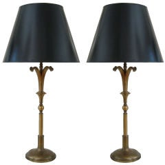 Large Pair of Repoussee Lamps by Norman Grag for Gump's