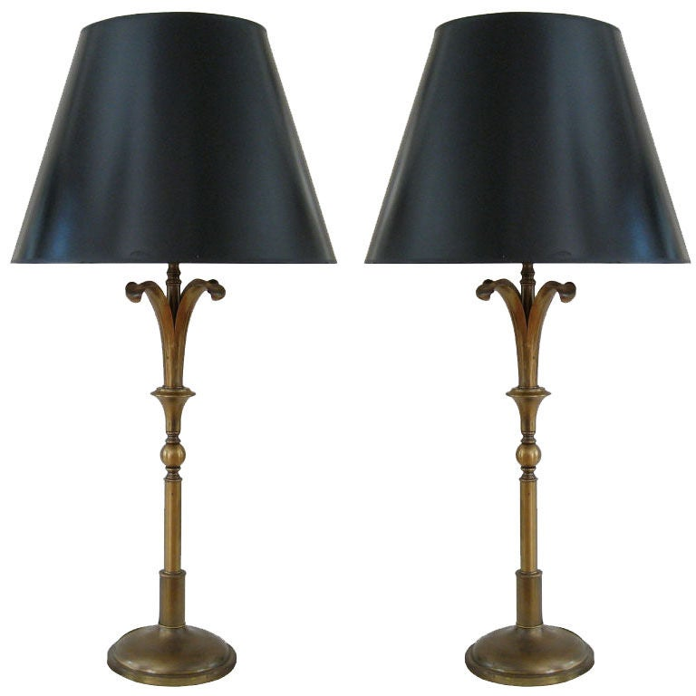 Large pair of repoussee lamps by norman grag for gumps for sale