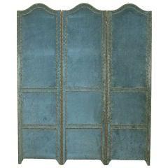 A Continental Velvet Upholstered 3-Panel Floor Screen