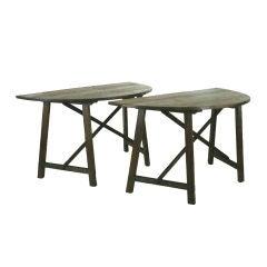 Pair Italian Dark Pinewood Late Baroque Demilune Console Tables