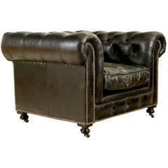 "A Substantial Belgian ""Chesterfield"" Tufted Leather Armchair"