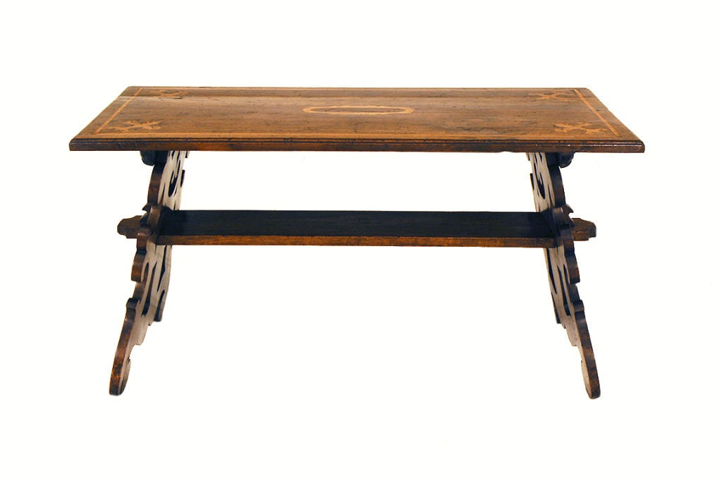 Italian Baroque Style Walnut And Inaid Trestle Form Coffee Table At 1stdibs