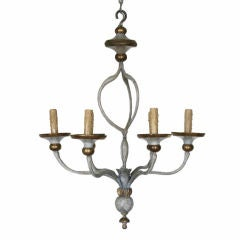 Italian LXVI Style Painted Wrought Iron and Wooden Chandelier