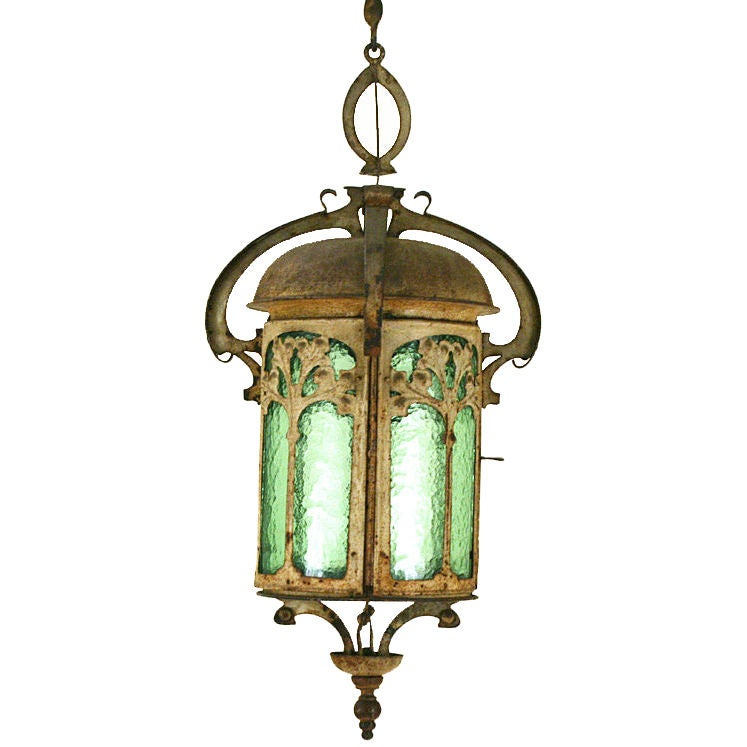 A Milanese Art Nouveau Period Tole And Glass Lantern At