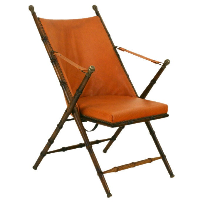 Bamboo folding chair - Oak Brass And Faux Leather Folding Campaign Chair At 1stdibs