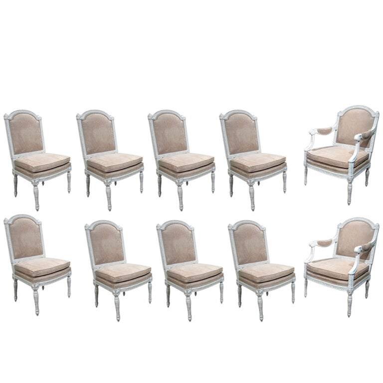 United Nations Dining Room: Refined Set 10 Louis XVI Painted Dining Chairs, French