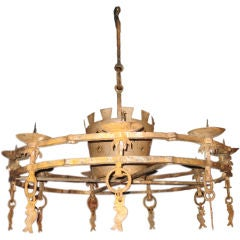 Forged Iron Candle Chandelier