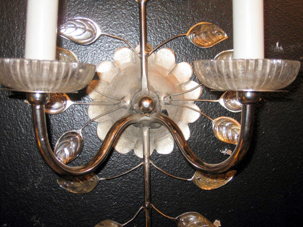Pair of Bagues Silver Plated Sconces 2