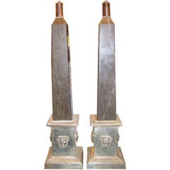 Pair of Silver Plated Bronze Lamps with Marble Obelisks