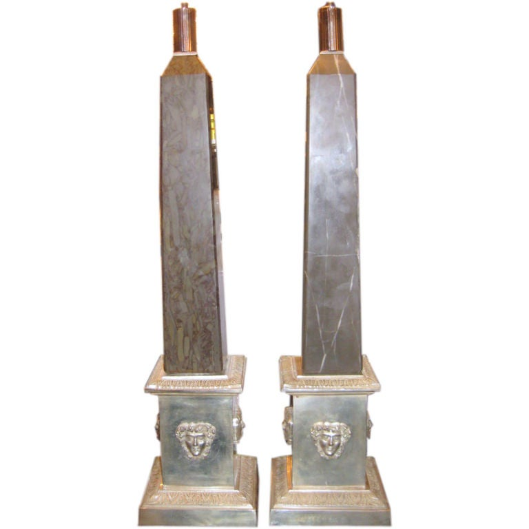 Pair of Silver Plated Bronze Lamps with Marble Obelisks For Sale