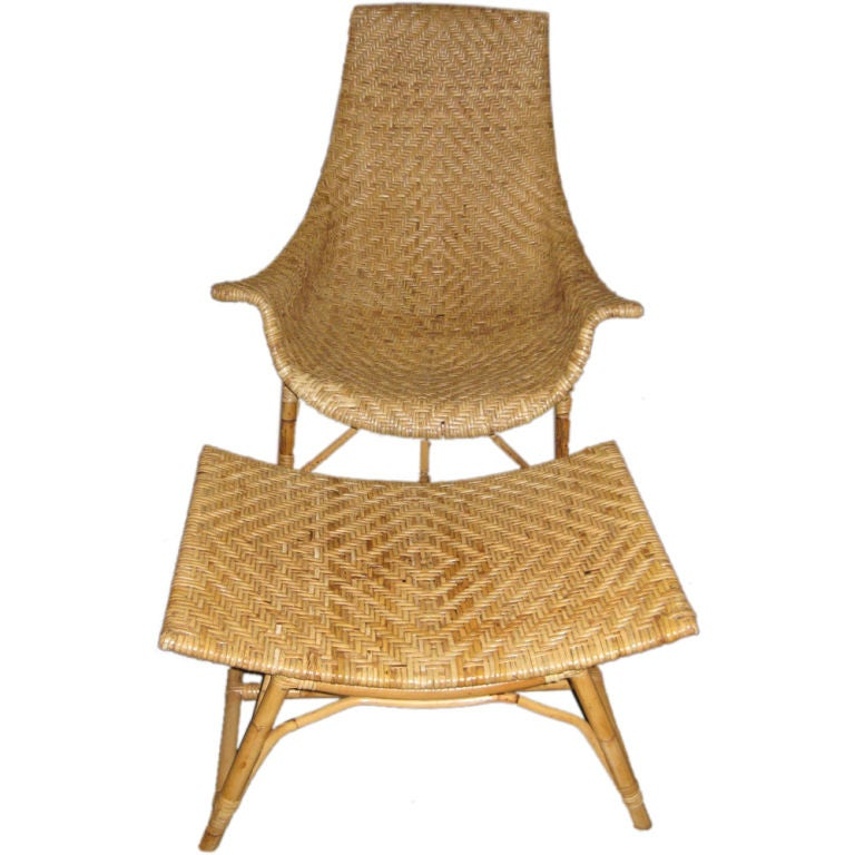 wicker chair and ottoman at 1stdibs. Black Bedroom Furniture Sets. Home Design Ideas