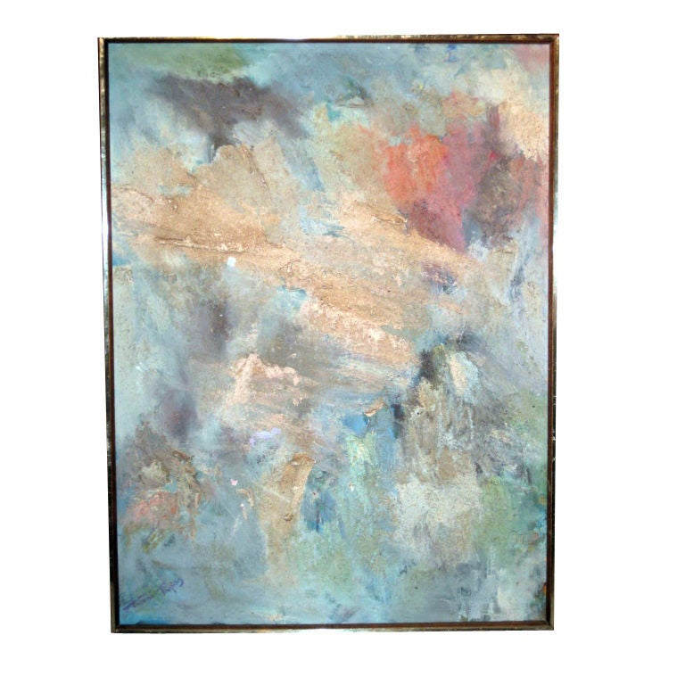 "Fine 1950's Abstract Painting Titled ""Jungle Storm"""