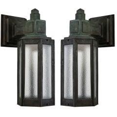 A pair of antique hexagonal bronze exterior lanterns
