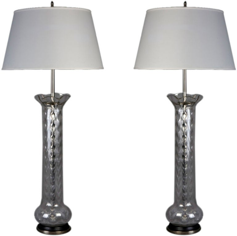 this a pair of blown glass table lamps is no longer available. Black Bedroom Furniture Sets. Home Design Ideas