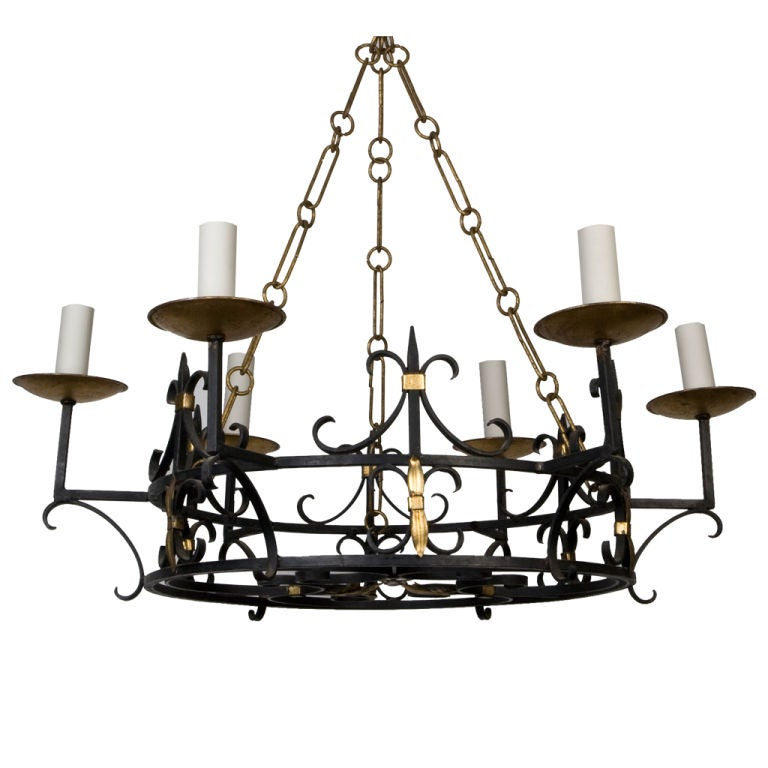 Ornate Iron Ring Chandelier: An Antique Wrought Iron Ring Chandelier At 1stdibs