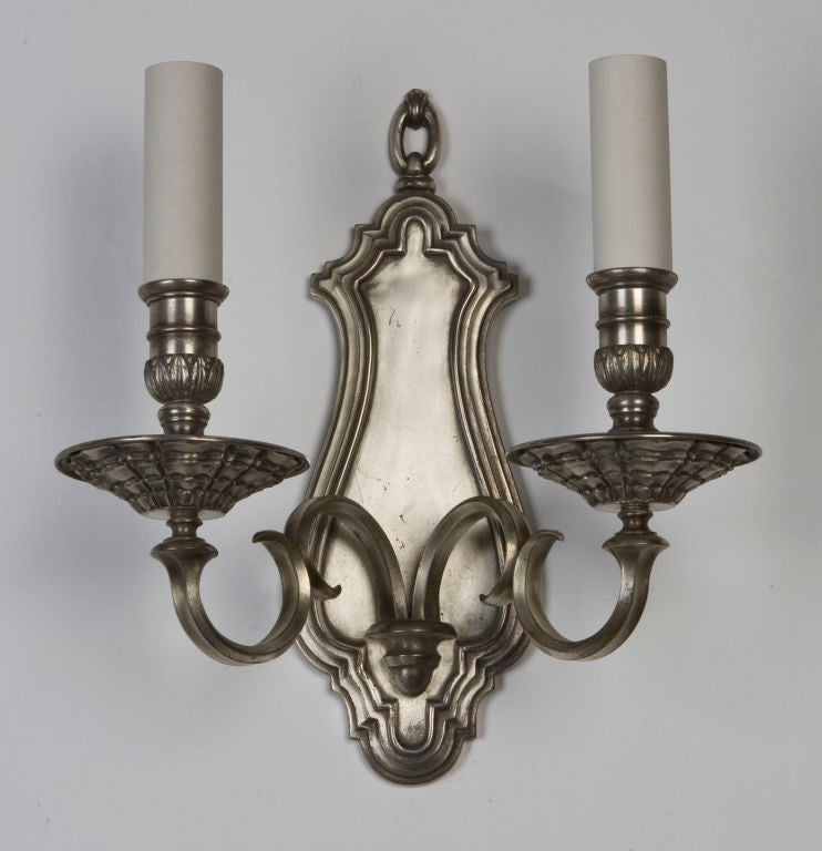 An antique double light silver sconce at 1stdibs
