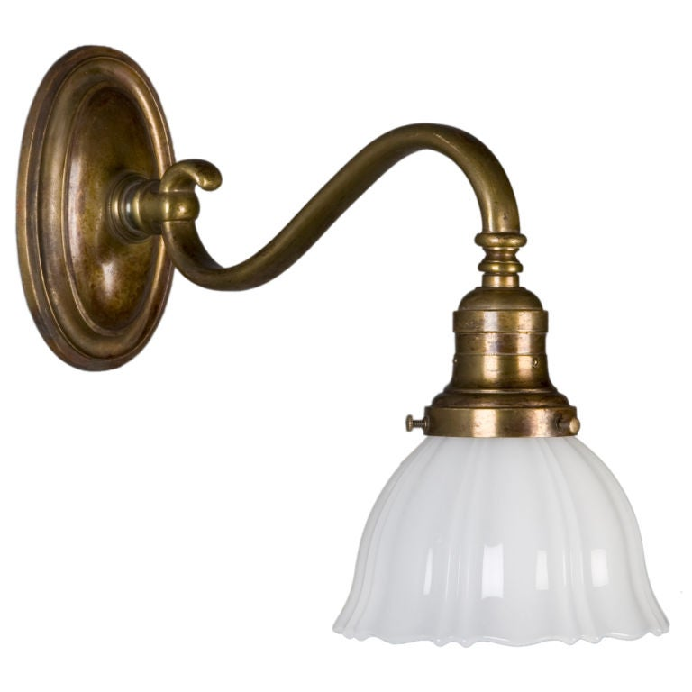 Bronze Wall Sconce With Shade : An antique bronze sconce with scalloped shade at 1stdibs