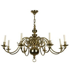An eight-light solid brass chandelier