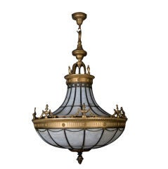 Bronze and Leaded Glass Chandelier, circa 1920