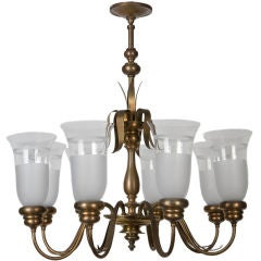 E. F. Caldwell Brass and Frosted Glass Chandelier
