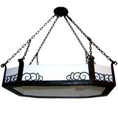 Rectangular Iron and Leaded Glass Deco Chandelier