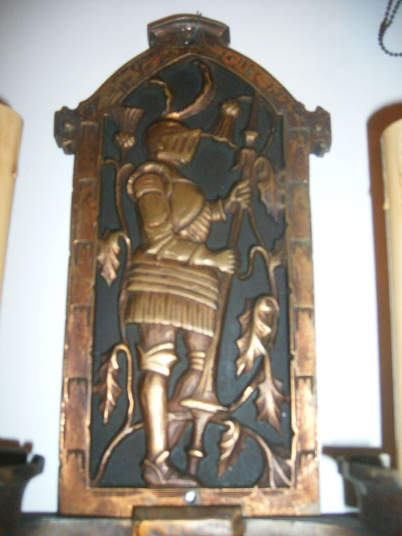 Pair Of Bronze Sconces With Knights Figures For Sale At