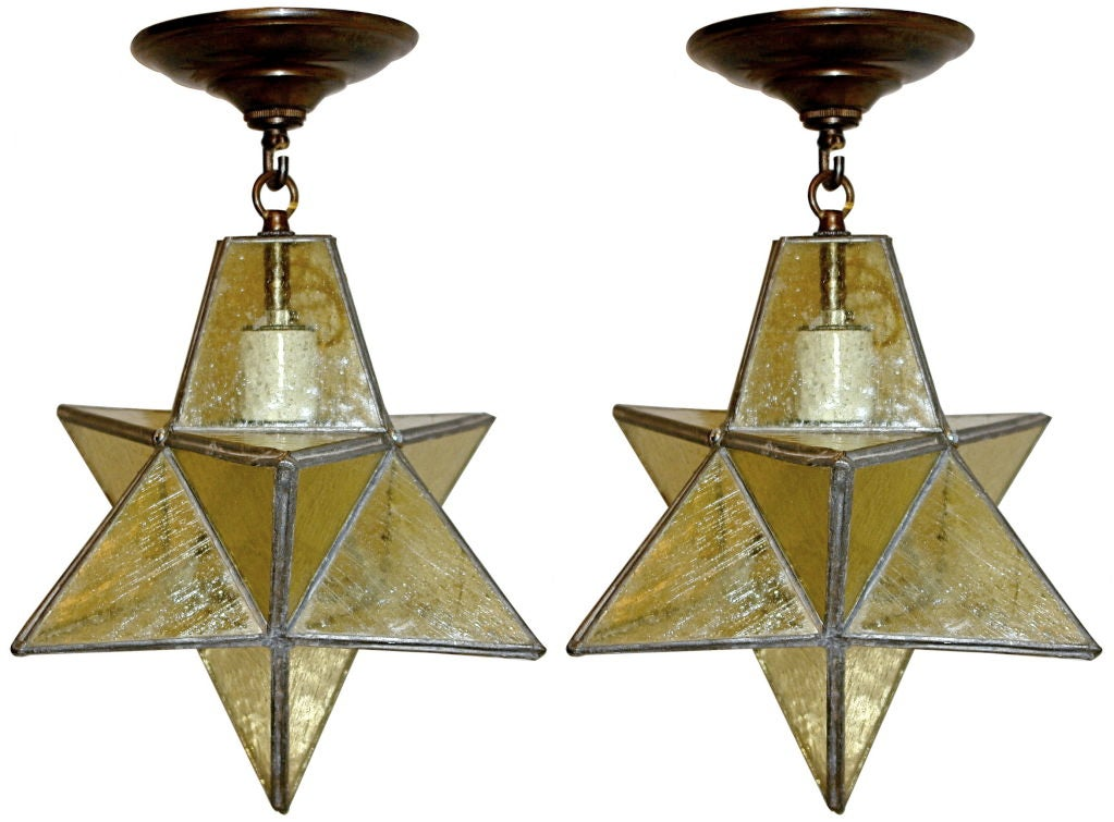star shaped leaded glass fixtures at 1stdibs