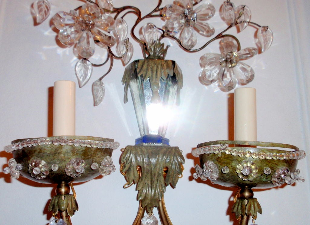 Painting Brass Wall Sconces : Pair of Painted Tole and Brass Sconces at 1stdibs