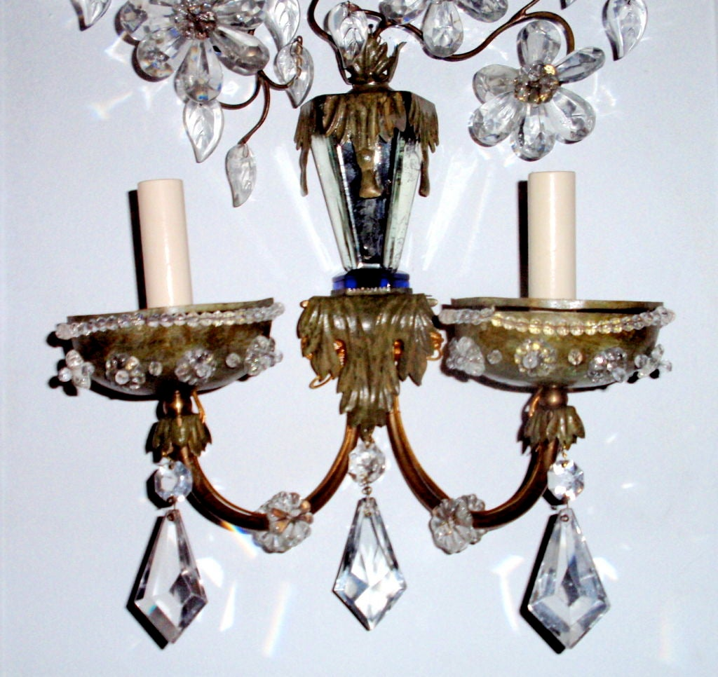 Pair of Painted Tole and Brass Sconces at 1stdibs