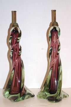Pair of Amethyst Venetian Glass Table Lamps