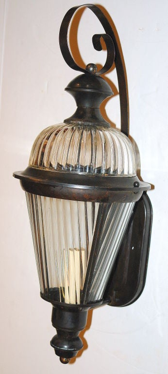 Italian Pair of Bronze and Molded Glass Lanterns For Sale