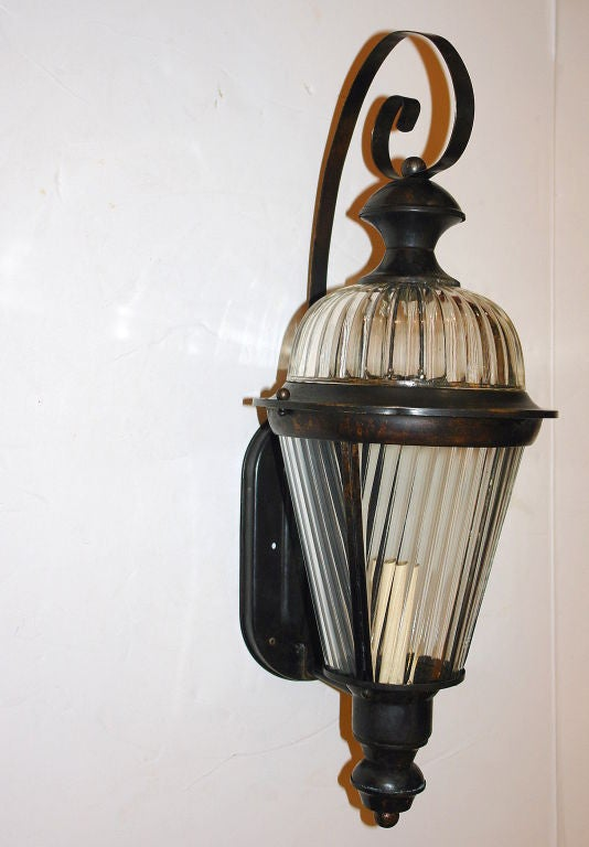 Pair of Bronze and Molded Glass Lanterns In Excellent Condition For Sale In New York, NY