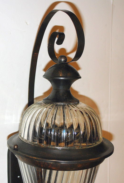 Pair of Bronze and Molded Glass Lanterns For Sale 2