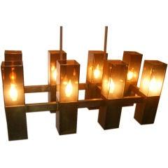 Moderne Horizontal Bronze Chandelier